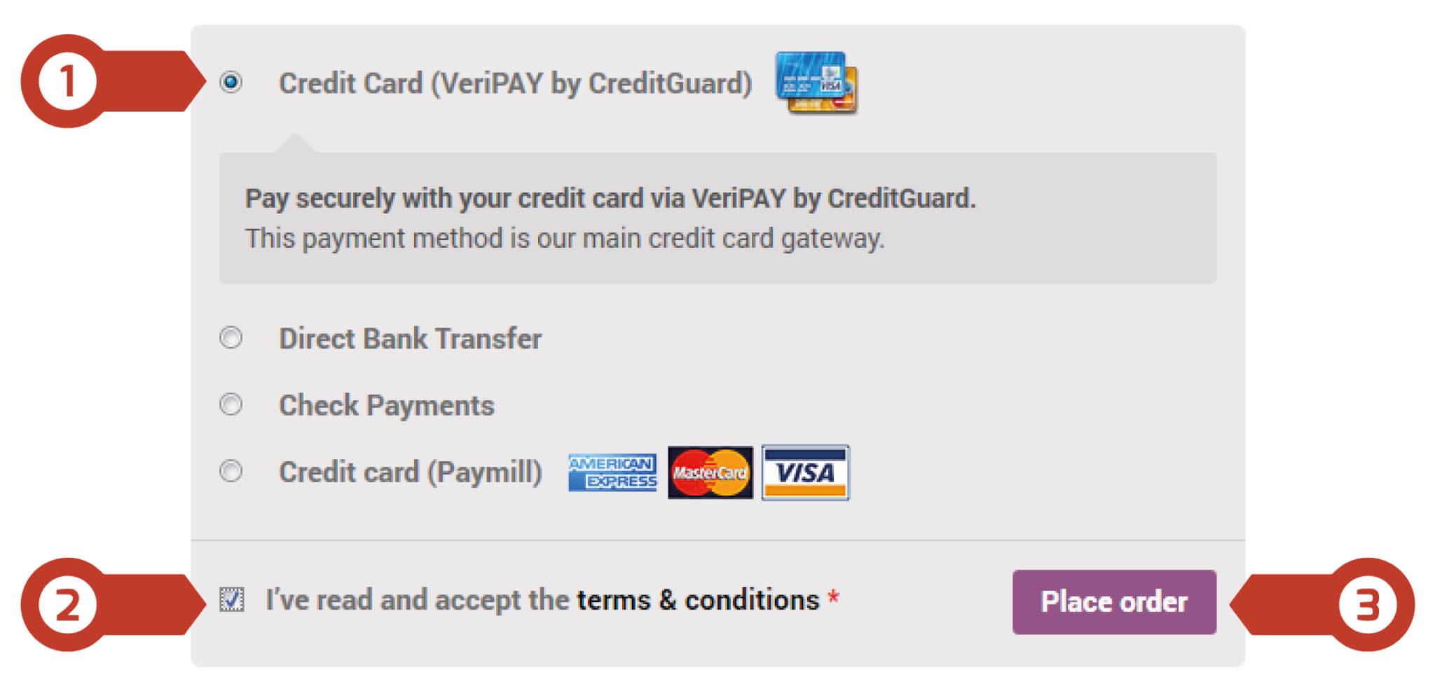 choosing the payment method